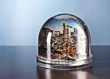 Frankfurt in a snow globe Royalty Free Stock Images