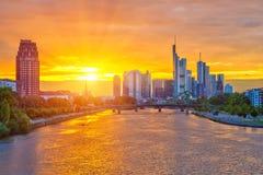 Frankfurt am Sonnenuntergang Stockfotos