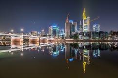 Frankfurt stadshorisont HDR Fotografering för Bildbyråer