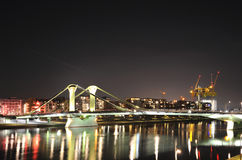 Frankfurt stadspanorama. Exponerad bro. Arkivbild