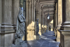 Frankfurt Stock Exchange. Historical statues in the arcade of the Frankfurt Stock Exchange building royalty free stock photos