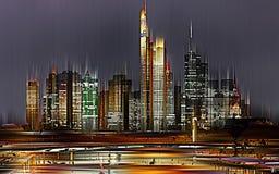 Frankfurt/strömförsörjning, Tyskland som, grafiskt är abstrakta & x28; digitalt manipulated& x29; arkivbild