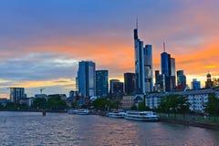 Frankfurt at sunset. Frankfurt am Main at sunset, Germany Stock Photo