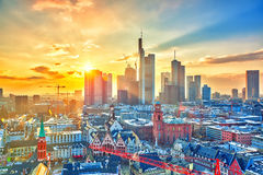 Frankfurt at sunset, Germany Stock Images