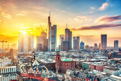 Frankfurt at sunset stock images