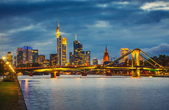 Frankfurt after sunset Stock Photography