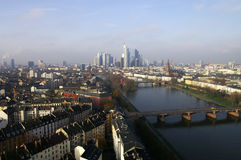 Frankfurt from the top. A view on Frankfurt am Main with its skyline in Germany Royalty Free Stock Images