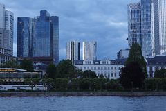 Frankfurt - Towers of banking companies with rain clouds in the evening Royalty Free Stock Photography