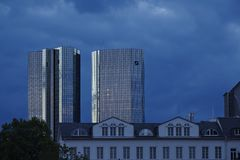 Frankfurt - Towers of banking companies with rain clouds in the evening Stock Image