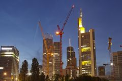 Frankfurt - Towers of the bigges bank companies at the evening Royalty Free Stock Photo
