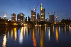 Frankfurt - Towers of the bigges bank companies at the evening Royalty Free Stock Image