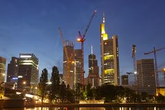 Frankfurt - Towers of the bigges bank companies at the evening Stock Images