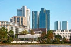 Frankfurt Towers. Frankfurt am Main, Germany - June 3, 2013: Financial district of Frankfurt am Main. View of twin towers of Deutsche Bank (headquarter), the Royalty Free Stock Photo
