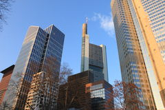 Frankfurt towers. Some high-rise building in the central financial district of Frankfurt stock image