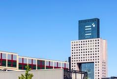 Frankfurt Trade Fair Building Tower. Frankfurt, Germany - July 21, 2013: Messe Torhaus laso called Gateway to Frankfurt shaped like a guiiotine, serves as admin Royalty Free Stock Photos