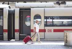 Frankfurt train station. People arrive and depart at Frankfurt train station. Frankfurt train station is opened in 1899 Royalty Free Stock Photos
