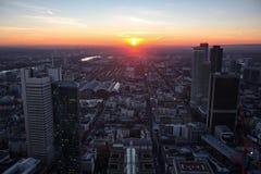 Frankfurt Tyskland aftonsolnedgång från över Royaltyfria Foton