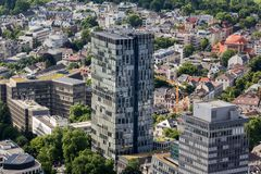 Frankfurt Tyskland från över Arkivbild