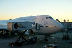 FRANKFURT TYSKLAND - JANUARI 20th, 2017: Boeing 747-8 av Lufthansa parkerade på porten, ordnar till för att stiga ombord Lufthans Royaltyfria Foton