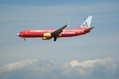 FRANKFURT TYSKLAND - JULI 09., 2017: TUIfly FLYGBOLAG Boeing 737-800 med den röda annonseringen landar på den Frankfurt flygplats Arkivbild