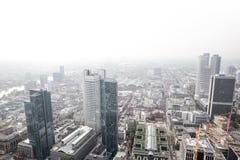 Frankfurt Tyskland skyskrapor med vit bakgrund Royaltyfria Foton