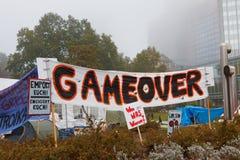 frankfurt upptar protester Arkivfoton