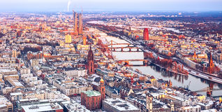 Frankfurt at winter. Aerial view over Frankfurt am Main at winter Royalty Free Stock Image