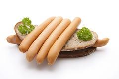 Frankfurter with bread Stock Photos