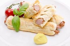 Frankfurter e pastelaria de sopro Fotografia de Stock