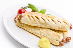 Frankfurter and puff pastry Royalty Free Stock Images