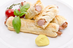Frankfurter and puff pastry Stock Photography