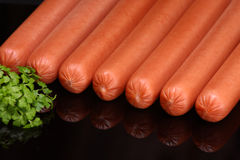 Frankfurter sausage (raw hot dog) Stock Photos