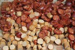 Frankfurter and sausage slices Stock Images