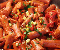 Frankfurter sausages. Coocked with corn and erbs Royalty Free Stock Image