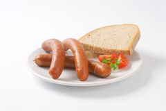 Frankfurter sausages and bread Royalty Free Stock Photo