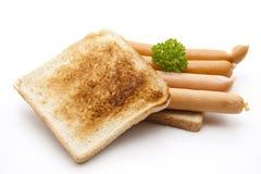 Frankfurter on toast bread Stock Photography