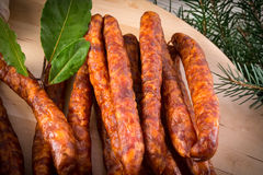 Frankfurterki world to known and beloved thin small sausages Stock Images