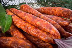 Frankfurterki world to known and beloved thin small sausages Stock Image