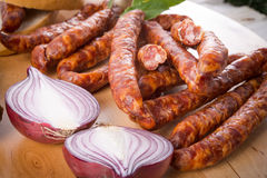 Frankfurterki world to known and beloved thin small sausages Royalty Free Stock Image
