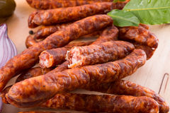 Frankfurterki world to known and beloved thin small sausages Stock Photo