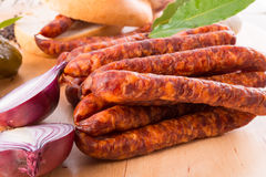 Frankfurterki world to known and beloved thin small sausages Stock Photos