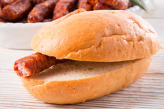 Frankfurterki world to known and beloved thin small sausages Royalty Free Stock Photo