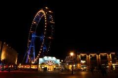 Frankfurterkorv Prater på natten Arkivfoto