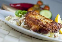 Frankfurterkorvschnitzel med potatissallad Royaltyfria Foton
