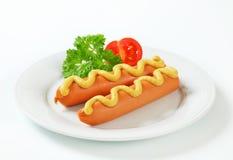 Frankfurters с мустардом Стоковая Фотография RF