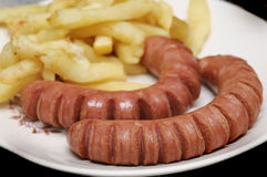 Frankfurters and chips Royalty Free Stock Photography