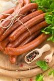 Frankfurters. Fresh smoked аrankfurters on a table Stock Photography