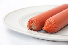 Frankfurters on the plate Stock Photography