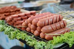 Frankfurters.Street food in Bangkok.  Stock Images