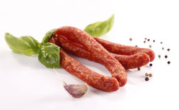 Frankfurters. Tasty smoked thin frankfurters with spices Stock Photography